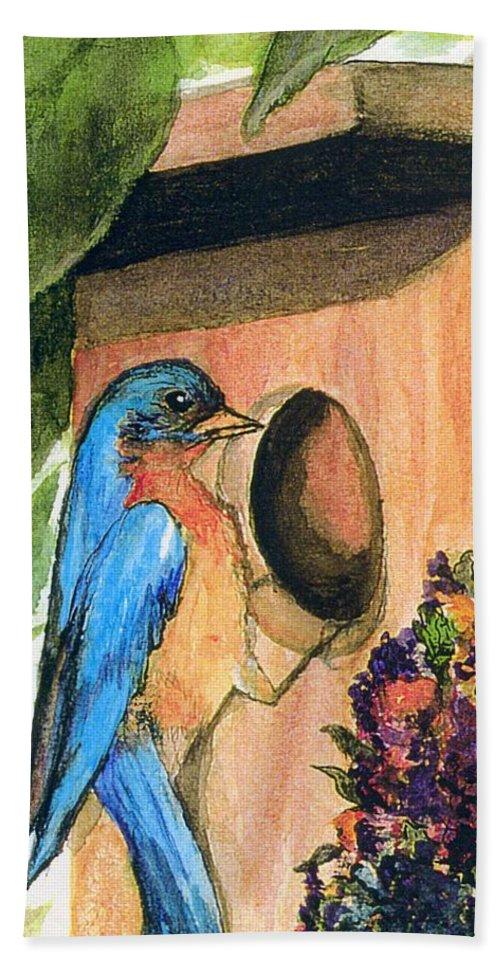 Bluebirds Bath Sheet featuring the painting Home Sweet Home by Gail Kirtz