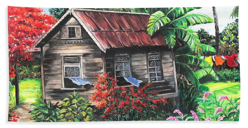 Caribbean House Hand Towel featuring the painting Home Sweet Home by Karin Dawn Kelshall- Best