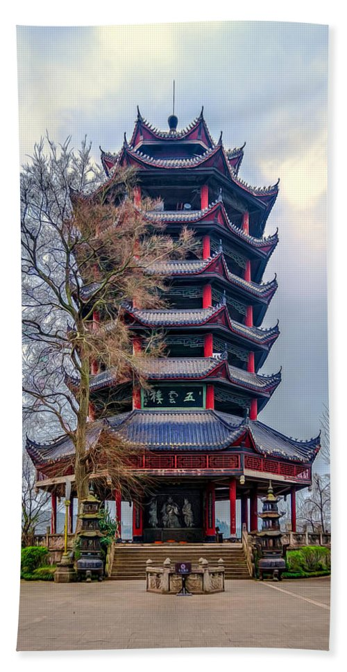 Ancient Hand Towel featuring the photograph Wuyun Tower by Maria Coulson
