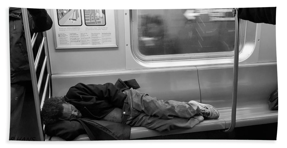 Urban Hand Towel featuring the photograph Homeless In Motion In Black And White by Rob Hans