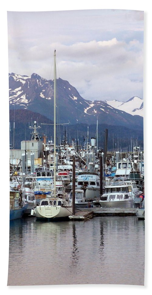 Homer Alaska Hand Towel featuring the photograph Homer Harbor by Marty Koch