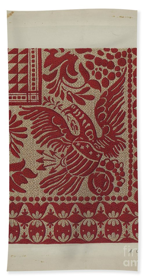 Hand Towel featuring the drawing Homespun Coverlet by Alexander Chudom