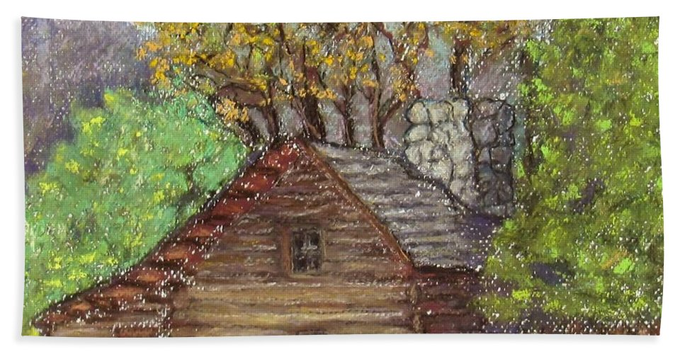 Log Bath Sheet featuring the painting Homestead by Laurie Morgan