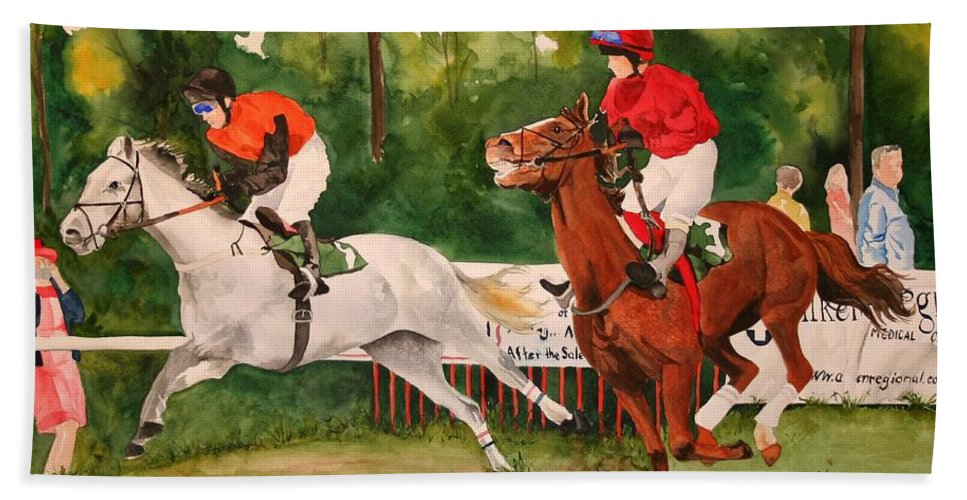 Racing Hand Towel featuring the painting Homestretch by Jean Blackmer