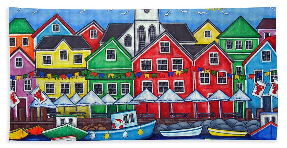 Boats Canada Colorful Docks Festival Fishing Flags Green Harbor Harbour Bath Towel featuring the painting Hometown Festival by Lisa Lorenz