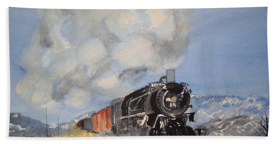 Train Hand Towel featuring the painting Homeward Bound by Carole Robins