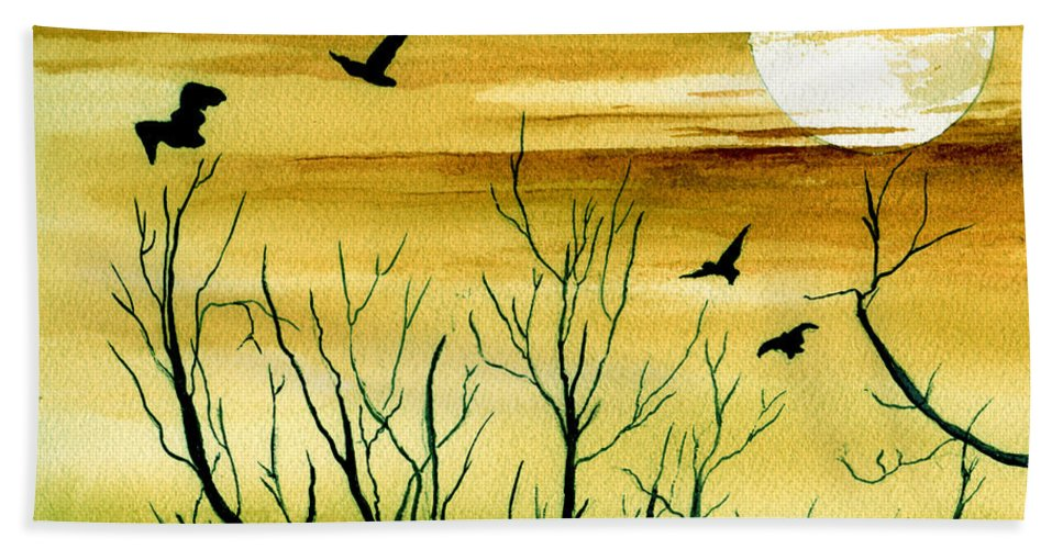 Landscape Watercolor Birds Ravens Crows Trees Sun Sunset Sky Clouds Bath Towel featuring the painting Homeward by Brenda Owen