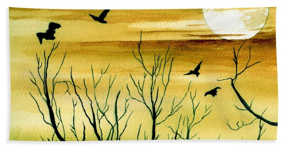 Landscape Watercolor Birds Ravens Crows Trees Sun Sunset Sky Clouds Bath Sheet featuring the painting Homeward by Brenda Owen