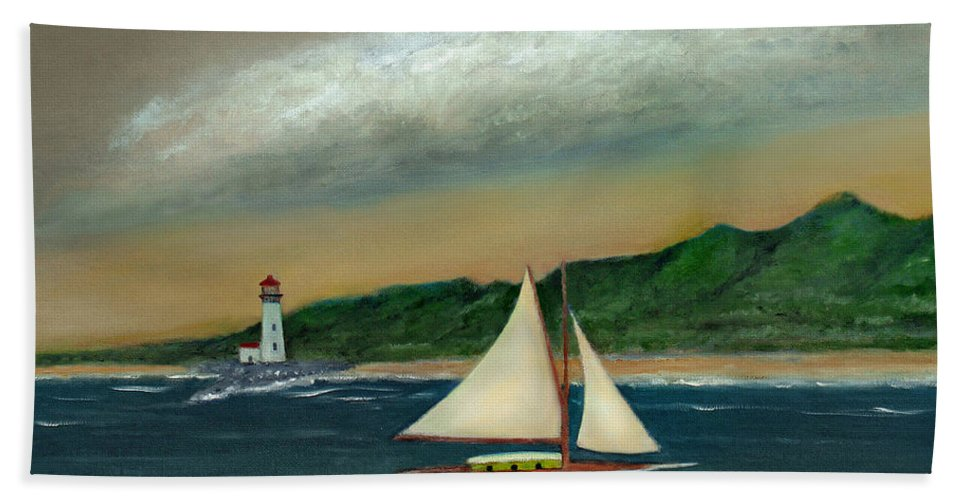 Ocean Seascape Sailboat Lighthouse Shoreline Nature Travel Gordon Beck Art Bath Towel featuring the painting Homeward by Gordon Beck