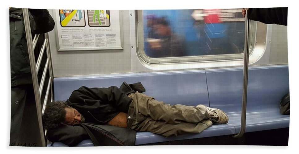 Urban Hand Towel featuring the photograph Homeless In Motion by Rob Hans