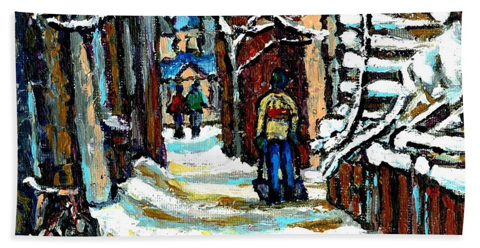 Original Montreal Paintings For Sale Hand Towel featuring the painting Buy Original Paintings Montreal Petits Formats A Vendre Scenes Man Shovelling Snow Winter Stairs by Carole Spandau