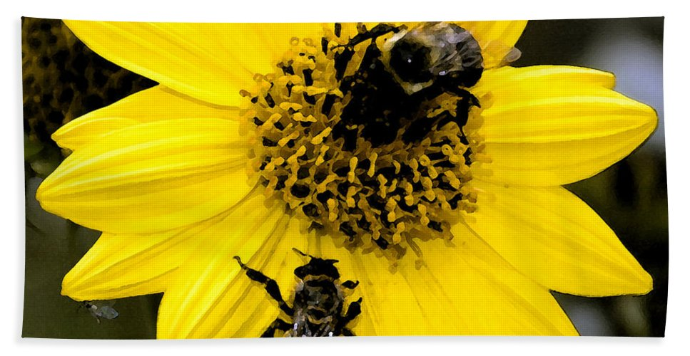 Honey Bees Hand Towel featuring the painting Honey Bees by David Lee Thompson