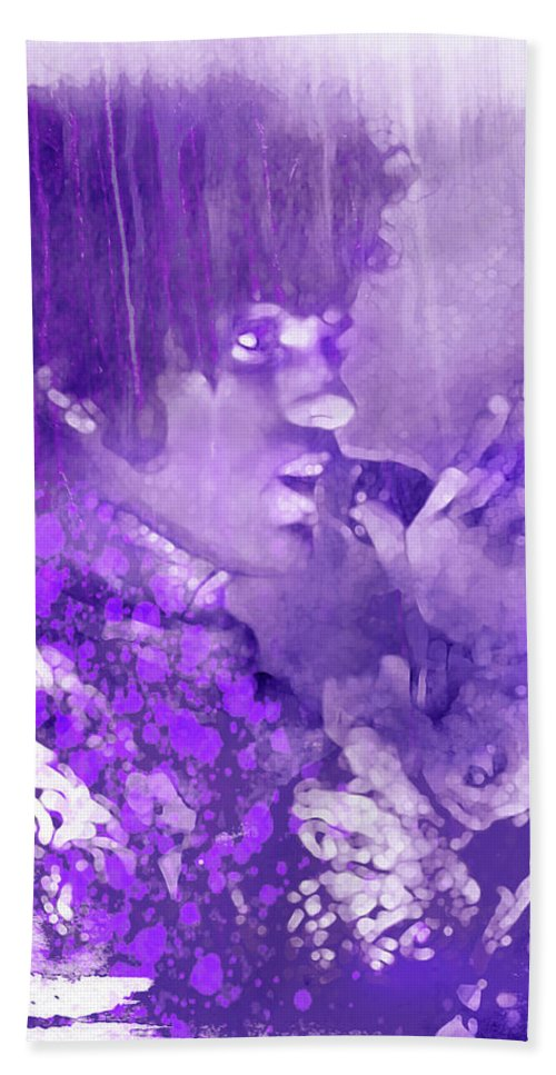 Prince Bath Sheet featuring the mixed media Honey, I Know, I Know by Mal Bray
