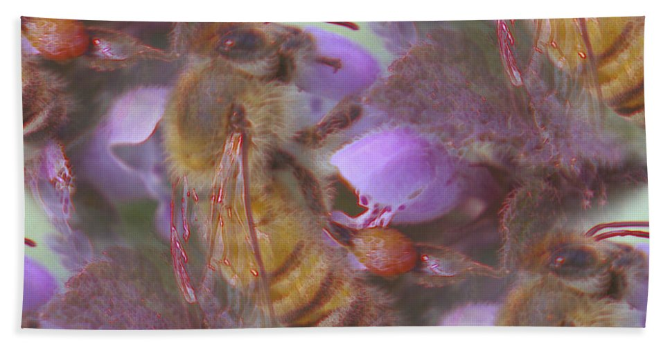 Bees Bath Sheet featuring the photograph Honeybee At Work by Jeff Swan