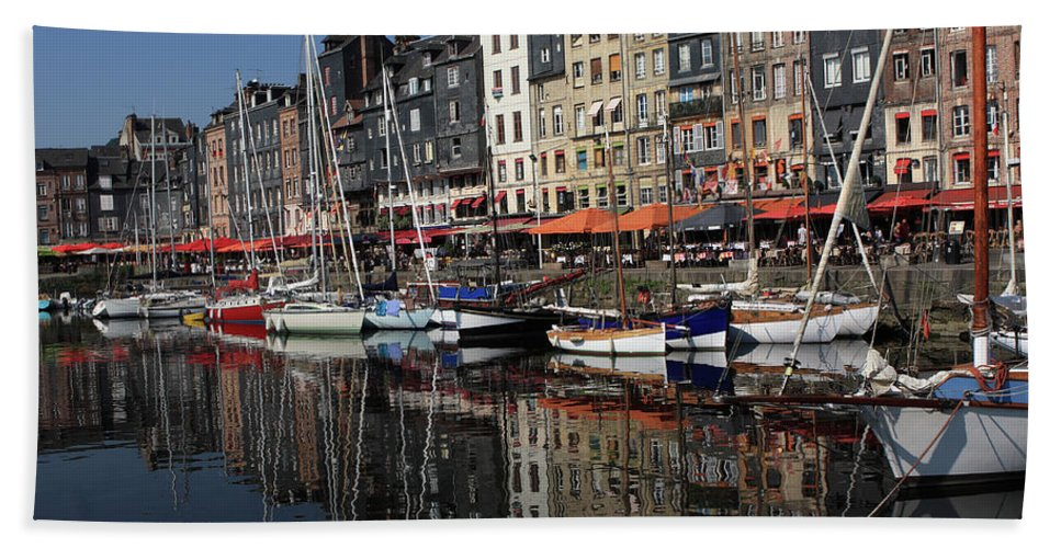 France Hand Towel featuring the photograph Honfleur Harbour France by Aidan Moran
