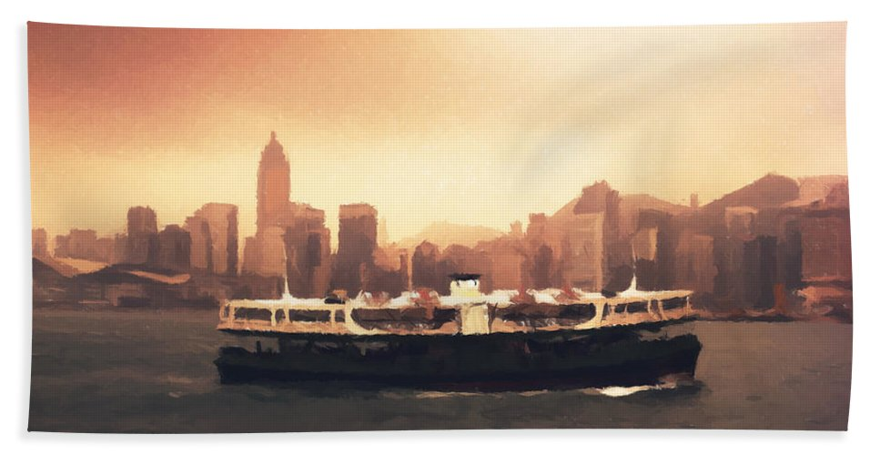 Hong Kong Hand Towel featuring the painting Hong Kong Harbour 01 by Pixel Chimp