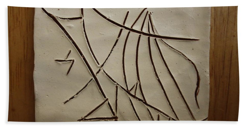 Jesus Bath Sheet featuring the ceramic art Honour - Tile by Gloria Ssali