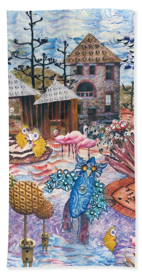 Abstract Hand Towel featuring the mixed media Hoo Is Watching The Chicken Coop by Valerie Meotti