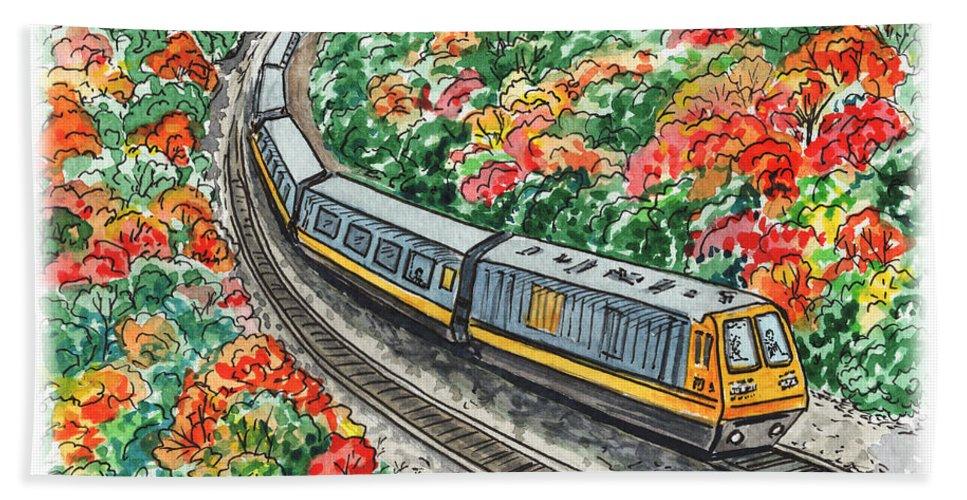Hop Bath Towel featuring the painting Hop On A Train by Irina Sztukowski