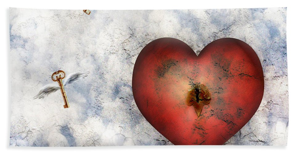 Heart Hand Towel featuring the digital art Hope Floats by Jacky Gerritsen
