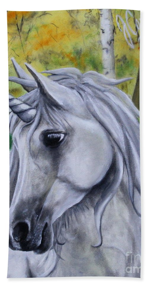 Unicorn Hand Towel featuring the painting Hope by Jose Corona