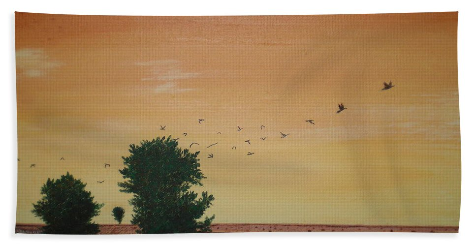 Rural Road Bath Sheet featuring the painting Hope Road With Black Birds by Aimee Mouw