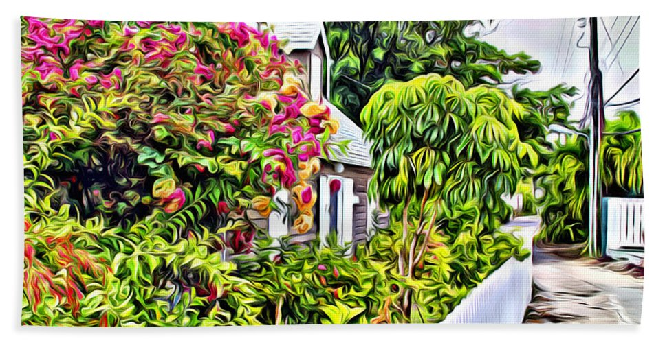 Color Hand Towel featuring the digital art Hopetown Gardens by Anthony C Chen