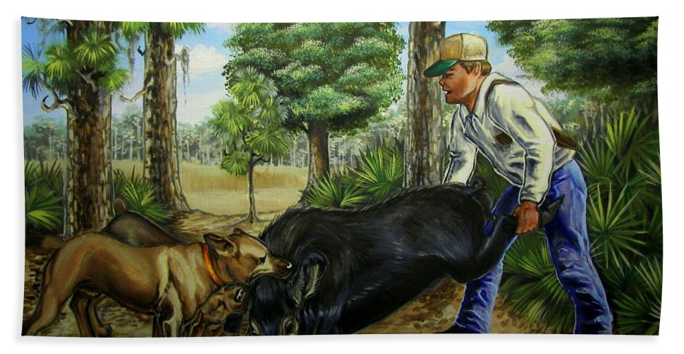Hog Hand Towel featuring the painting Horace's Hunt by Monica Turner