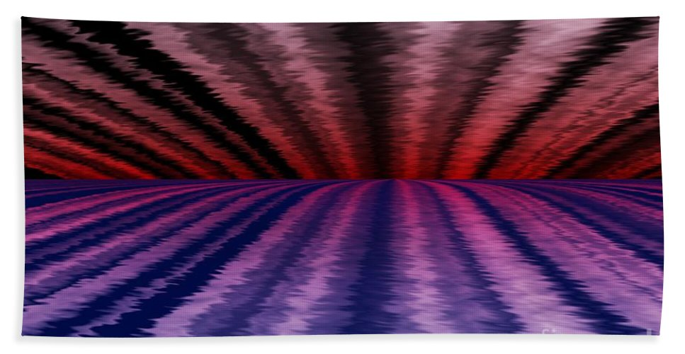 Abstract Bath Sheet featuring the digital art Horizon by David Lane