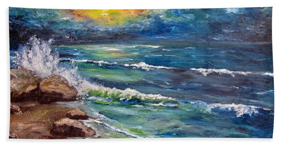 Seascape Bath Sheet featuring the painting Horizons by Cheryl Pettigrew