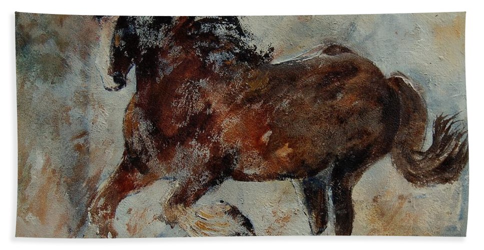 Animal Hand Towel featuring the painting Horse 561 by Pol Ledent