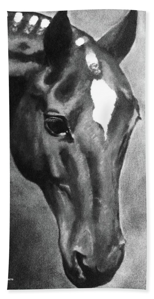 Horse Art Bath Sheet featuring the painting Horse Art Horse Portrait Red Black And White by Bets Klieger