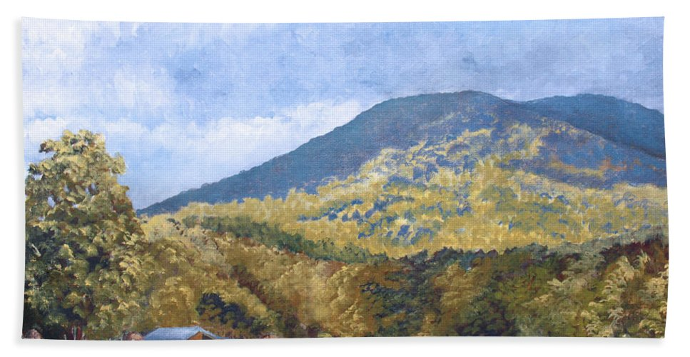 Landscape Bath Towel featuring the painting Horse Barn At Cades Cove by Todd Blanchard