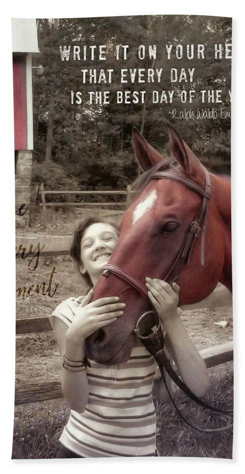 Horse Bath Sheet featuring the photograph Horse Crazy Quote by JAMART Photography