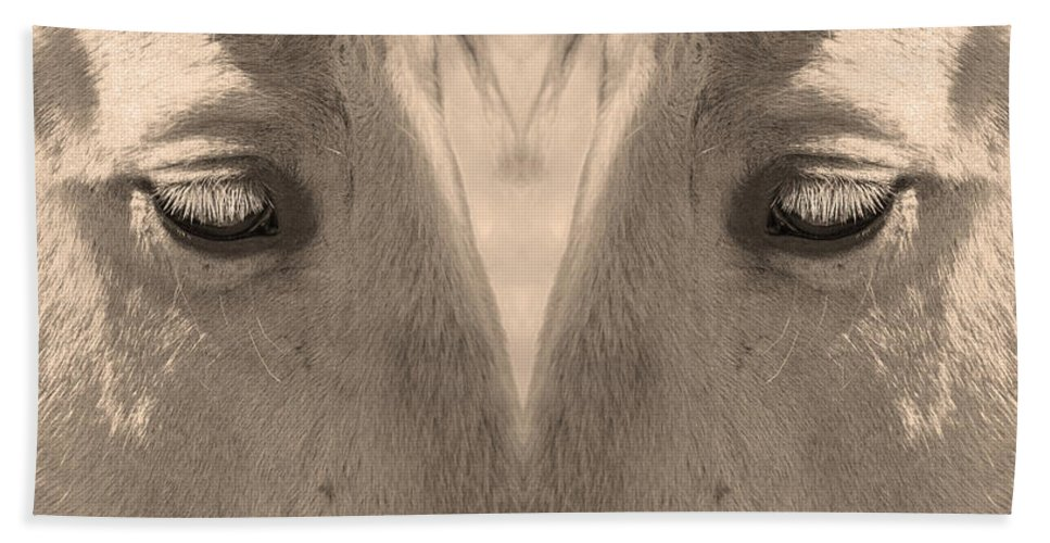 Close-ups-horse-horses Hand Towel featuring the photograph Horse Eyes Love Sepia by James BO Insogna
