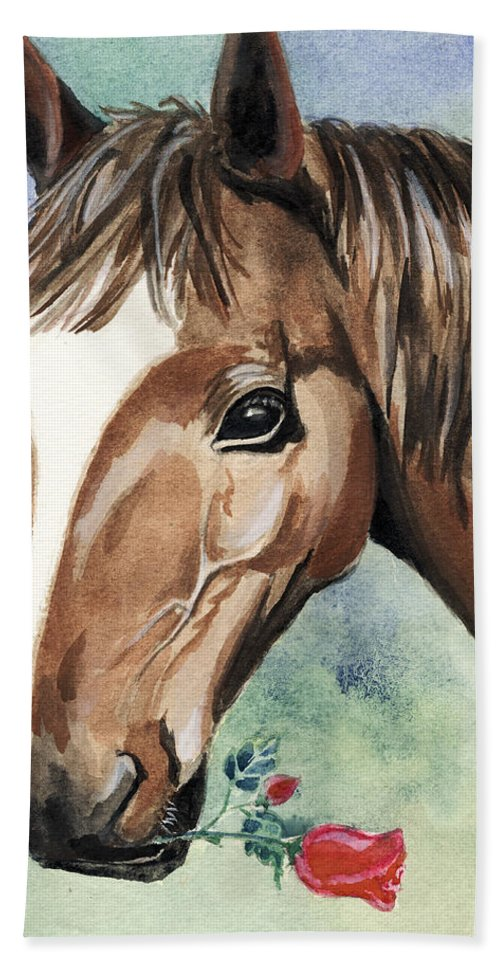 Horse Bath Towel featuring the painting Horse In Love by Alban Dizdari