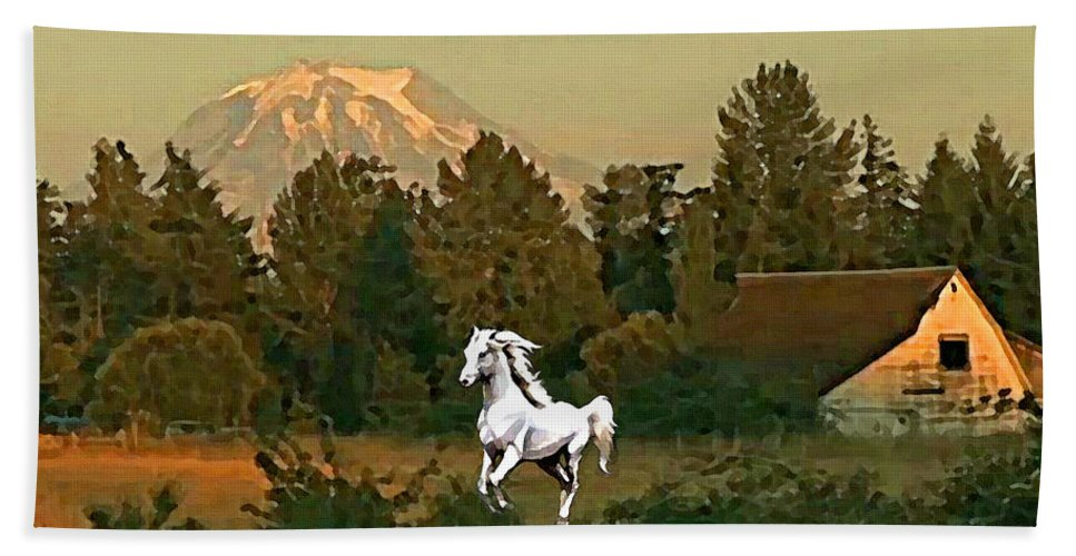 Horse Hand Towel featuring the painting Horse Mountain And Barn by Susanna Katherine