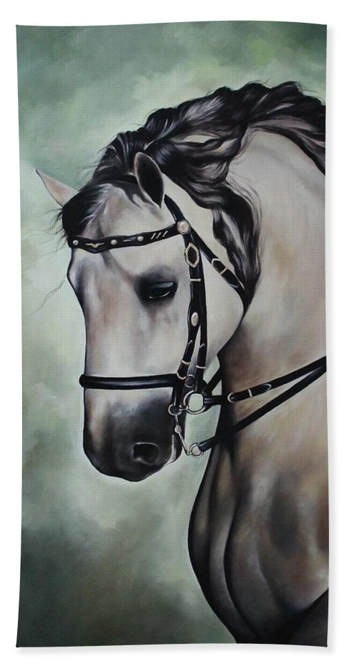 Animals Hand Towel featuring the painting Horse N.1 by Rebecca Tecla
