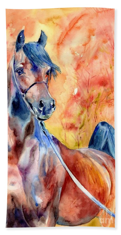 Horse Hand Towel featuring the painting Horse On The Orange Background by Suzann Sines