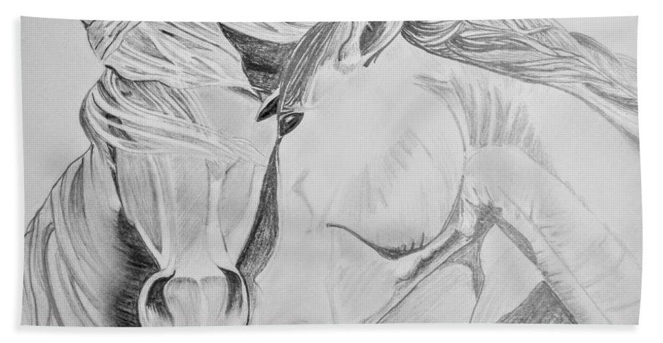 Bath Sheet featuring the drawing Horse Pair by Anirudh Maheshwari