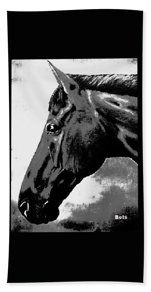 Horse Art Bath Sheet featuring the painting horse portrait PRINCETON black and white by Bets Klieger