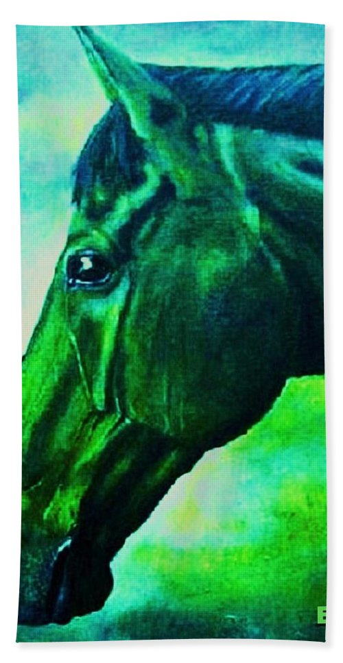 Horse Art Bath Sheet featuring the painting horse portrait PRINCETON blue green by Bets Klieger
