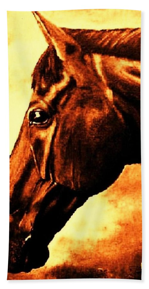 Horse Art Bath Sheet featuring the painting horse portrait PRINCETON brown tones by Bets Klieger