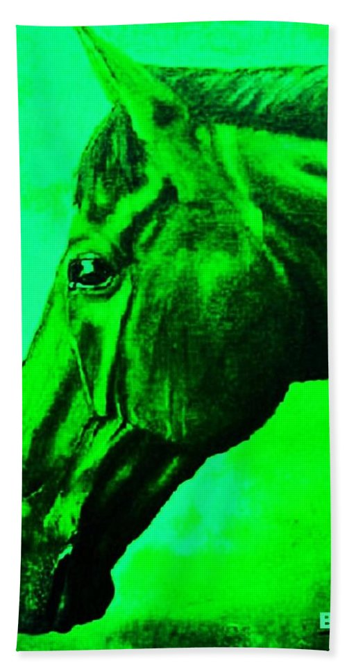 Horse Art Bath Sheet featuring the painting horse portrait PRINCETON green by Bets Klieger