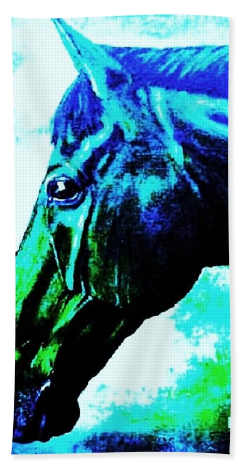 Horse Art Bath Sheet featuring the painting horse portrait PRINCETON really blue by Bets Klieger