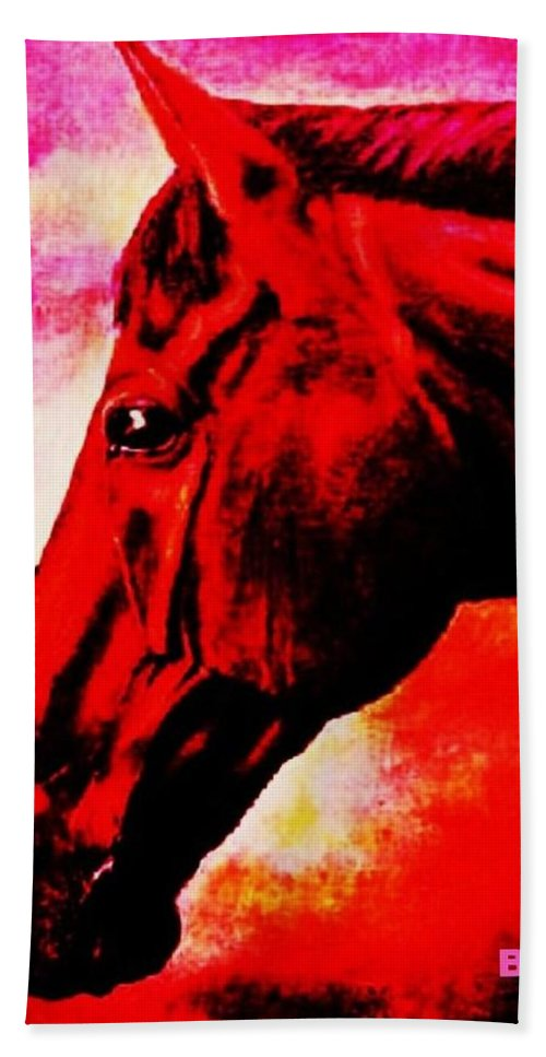 Horse Art Bath Sheet featuring the painting horse portrait PRINCETON red hot by Bets Klieger