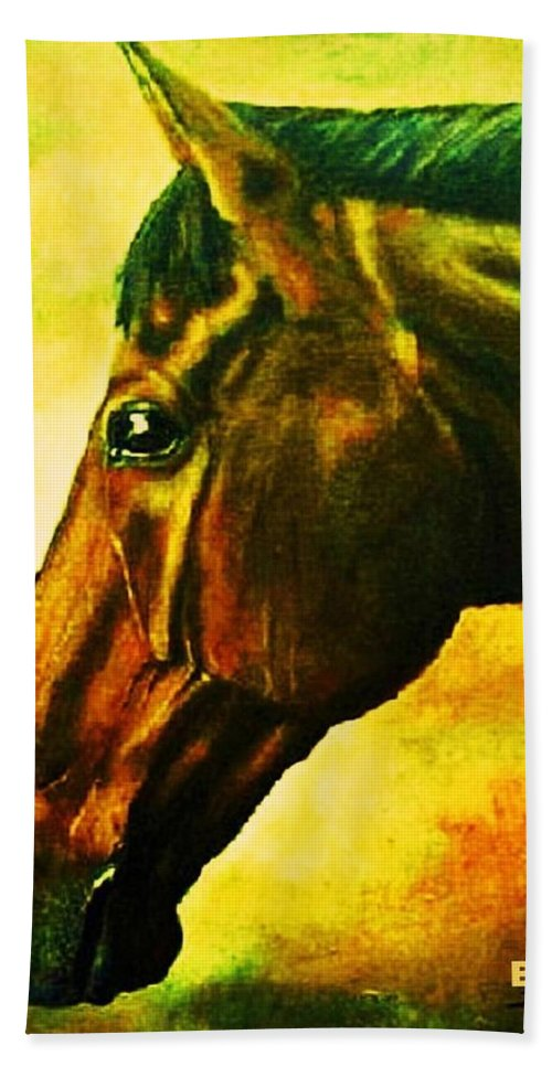 Horse Art Bath Sheet featuring the painting horse portrait PRINCETON yellow by Bets Klieger