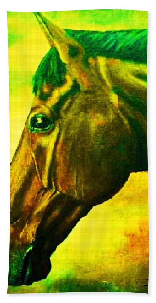 Horse Art Bath Sheet featuring the painting horse portrait PRINCETON yellow green by Bets Klieger