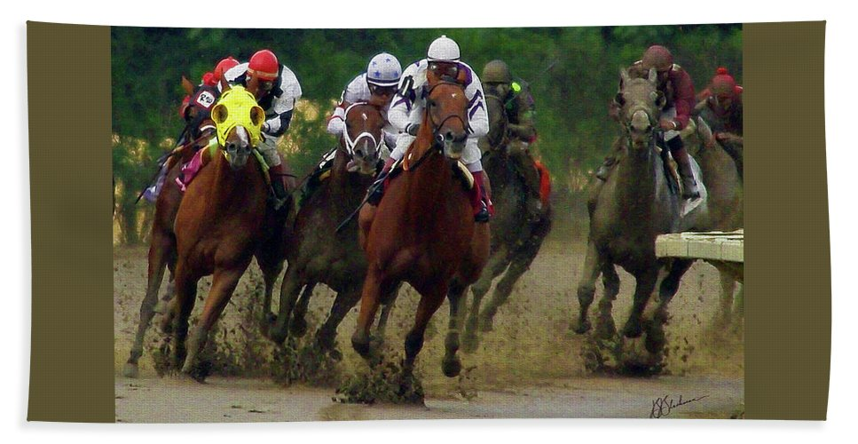 Horses Bath Sheet featuring the digital art Horse Race by Barry Blackman