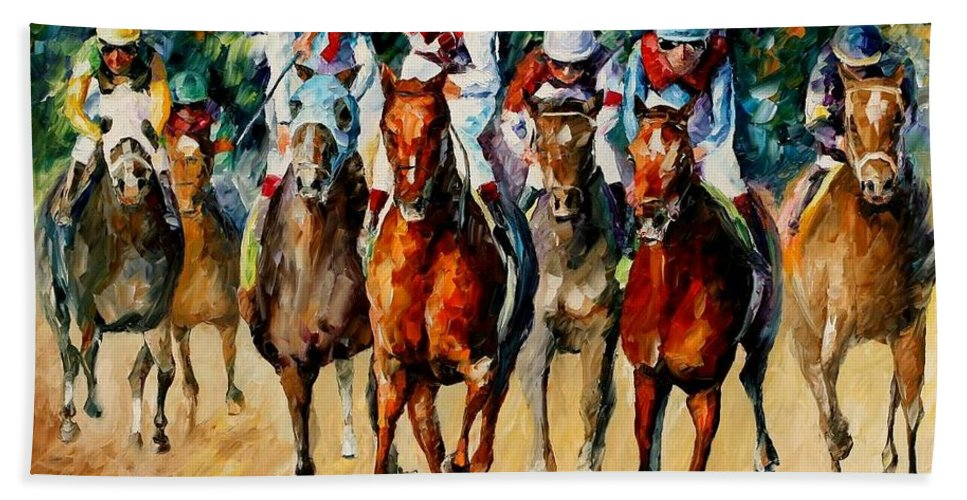 Afremov Bath Sheet featuring the painting Horse Race by Leonid Afremov